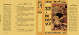 Ernest Hemingway DEATH IN THE AFTERNOON facsimile dust; NO BOOK, fac. DJ... - $22.77