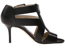 Women's Shoes Michael Kors ANYA MID Heel Open toe Sandal Front Zip Leather Black - $119.00