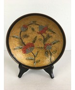 Vintage Commodore Solid Brass Decorative Footed Bowl Enamel Painted Floral - $24.74