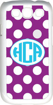 Circle Monogram Purple and White Polka Dot Samsung Galaxy S3 Case Cover - $15.95