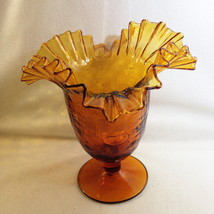 "Blenko #388 Crackled Amber Ruffled Wide Rim Vase Pedestal Base 8""x 8"" 1950 - $32.00"