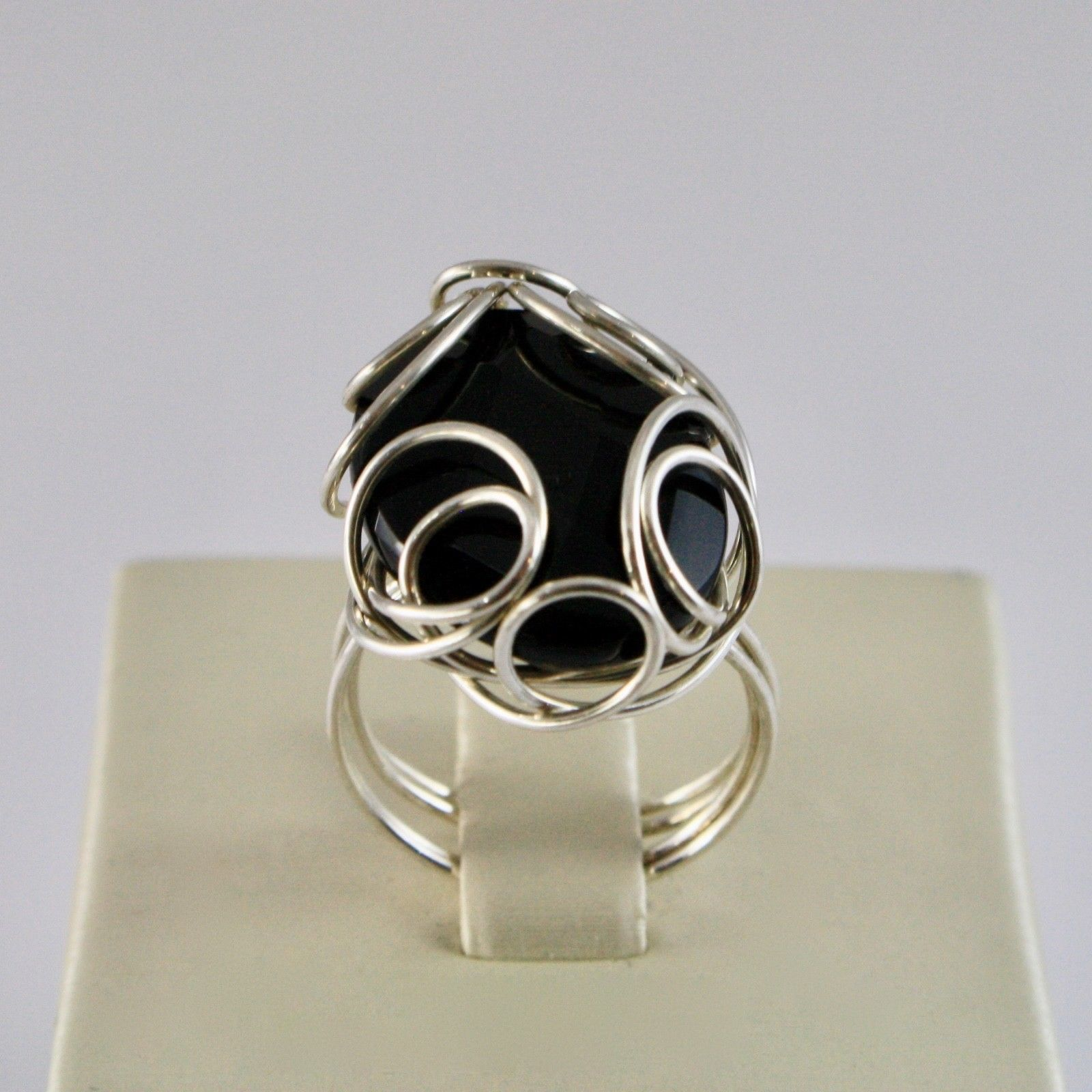 925 Silver Ring with Onyx Nature Faceted Shaped Oval