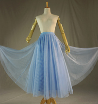 Long Tulle Skirt for adults Light Blue Plaid Long Skirt High Waisted Tulle Skirt