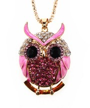 Women Cute Owl Pendant Rhinestone Necklace Long Sweater Chain (Hot Pink) - $34.70