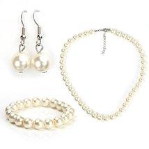 UNITED ELEGANCE Faux Pearl Set, Necklace, Drop Earrings & Coordinating Bracelet - $17.99