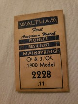 Vintage Waltham Pioneer Unit Resilient Main Spring 0s & 3 0s 1900 Model ... - $9.90