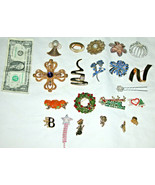 Mixed Lot of 20 Assorted Pieces, Brooches & Pins, Fashion Costume Jewelry - $27.19