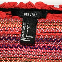 Forever 21 Red Ruffle Colorful ZigZag Striped Smocked Strapless Tube Top Sz S image 3