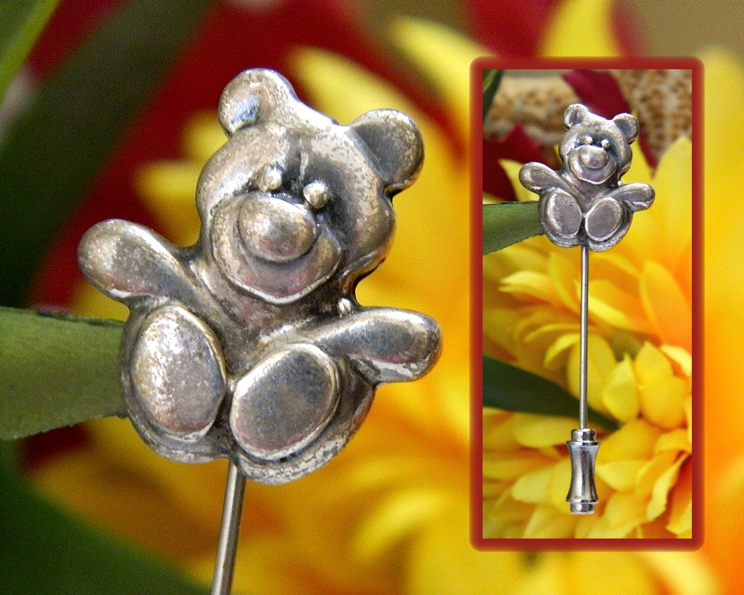 Vintage teddy bear lapel stickpin stick pin figural sterling silver