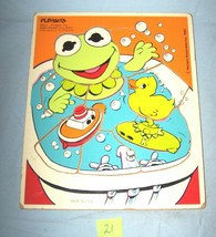 1983 Baby Kermit's Bath Wooden Playskool  Puzzle-265-2-Lot 21 - $13.10