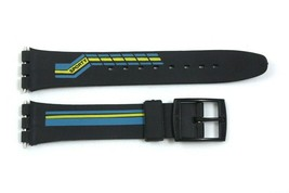 17mm Blue/Yellow Stripes PVC Replacement Watch Band Strap fits SWATCH wa... - $10.95