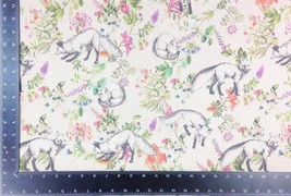 Wildlife Foxes Flowers Linen Look High Quality Fabric Material *3 Sizes* - $1.68+