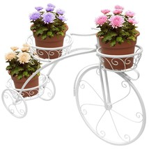 White Tricycle Plant Stand Flower Pot Holder Garden Outdoor Lawn Patio D... - $83.99 CAD