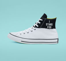 Converse Mens CTAS Hi I Stand For Canvas 165709C White/Black/Fresh Yellow Sz 10 image 4