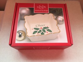 NEW Lenox Holiday American by Design Square Fluted Dish - Cheer - $2.97
