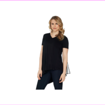 Lisa Rinna Collection V-Neck Top with Chiffon Back Detail, Black, Large - $12.10