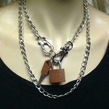 Vintage Chaps Lauren Padlock-2Keys Charm-Pendant 40in Silver Tone Chain Necklace - $56.95