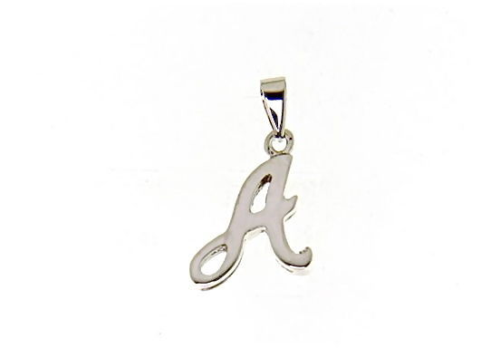 18K WHITE GOLD LUSTER PENDANT WITH INITIAL A LETTER A MADE IN ITALY 0.71 INCHES