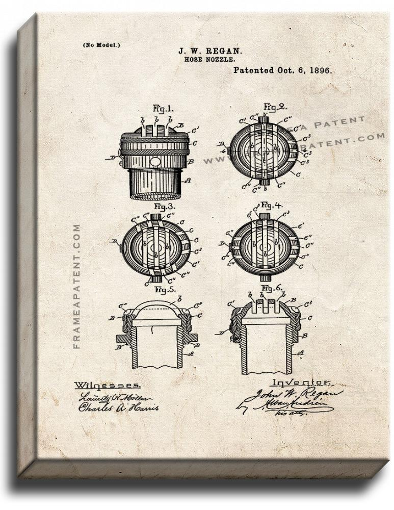 Primary image for Hose Nozzle Patent Print Old Look on Canvas