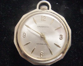 Lausanne Pendant Necklace Watch Working Liberty Head on Back Gold-tone H... - $34.95