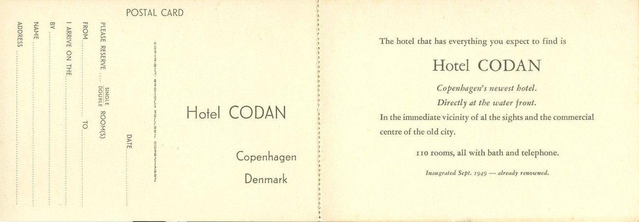 Denmark, Kobenhavn, Copenhagen, Hotel Codan unused Postcard