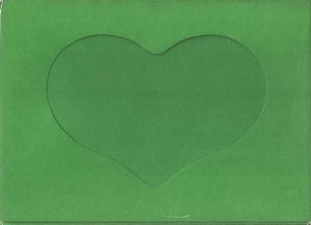 5592 christmas green heart opening needlework card