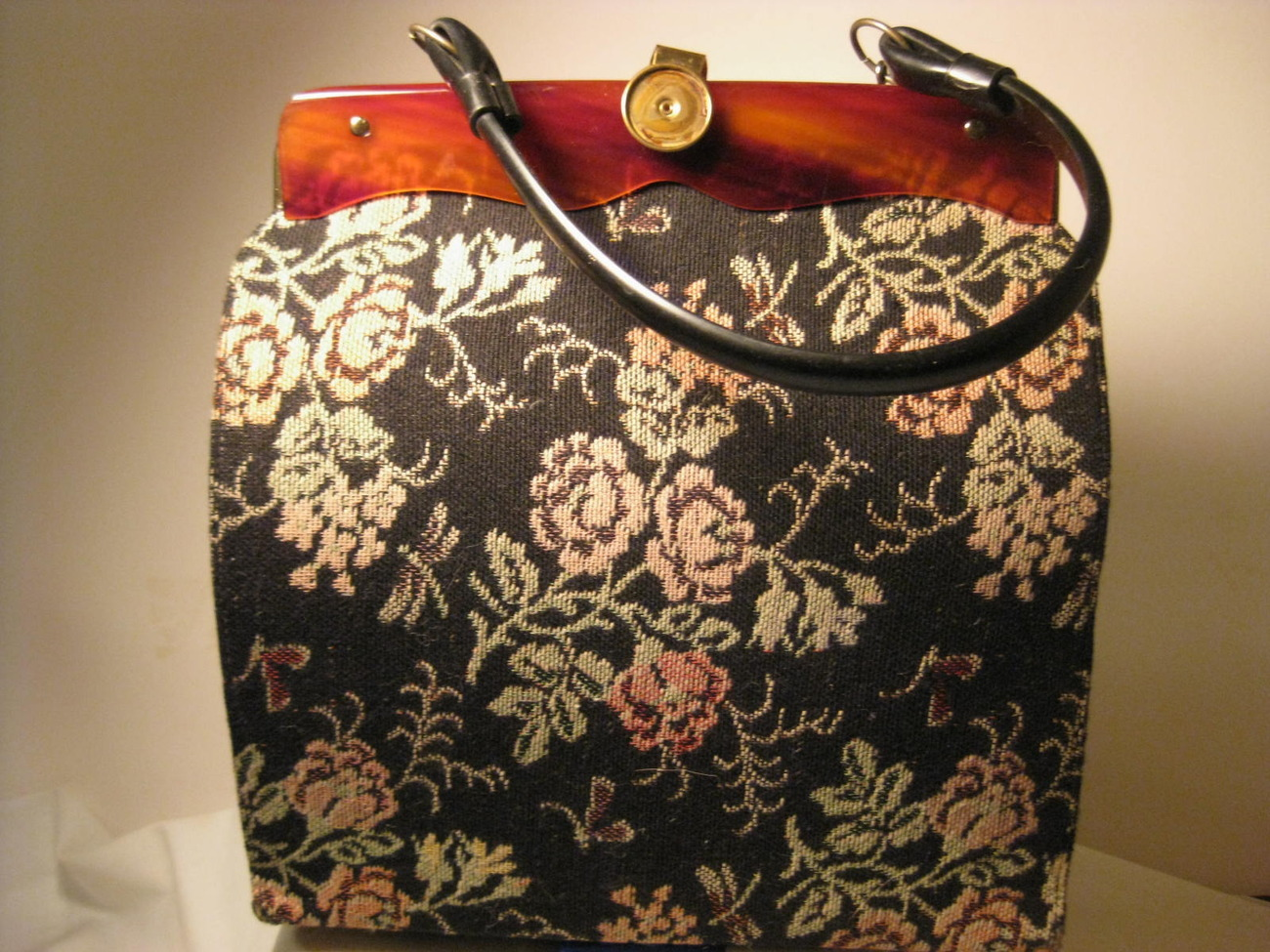 Primary image for Vintage Tapestry Purse Black Rose