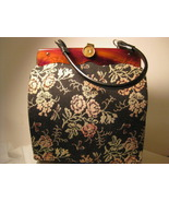 Vintage Tapestry Purse Black Rose  - $20.00
