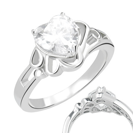 Heart Solitaire Ring w/ CZ