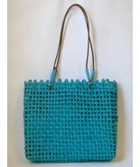 Turquoise Paper Straw Purse Tote Handbag Leather Handles Blue Fabric Lin... - $27.00