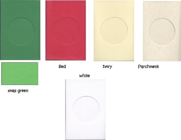 Christmas Green Round Small Needlework Cards 3.5x5.5 cross stitch