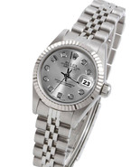 Bezel silver diamond dial Rolex datejust women ... - $3,218.00