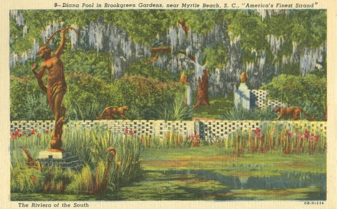 Diana Pool in Brookgreen Gardens near Myrtle Beach, SC, 1962 used linen Postcard