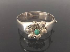 Vintage Southwestern Sterling Silver Green Turquoise Flower Bracelet 8''... - $185.00