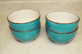 4 ROYAL NORFOLK TURQUOISE SWIRL STONEWARE SOUP/CEREAL BOWLS - $299,01 MXN