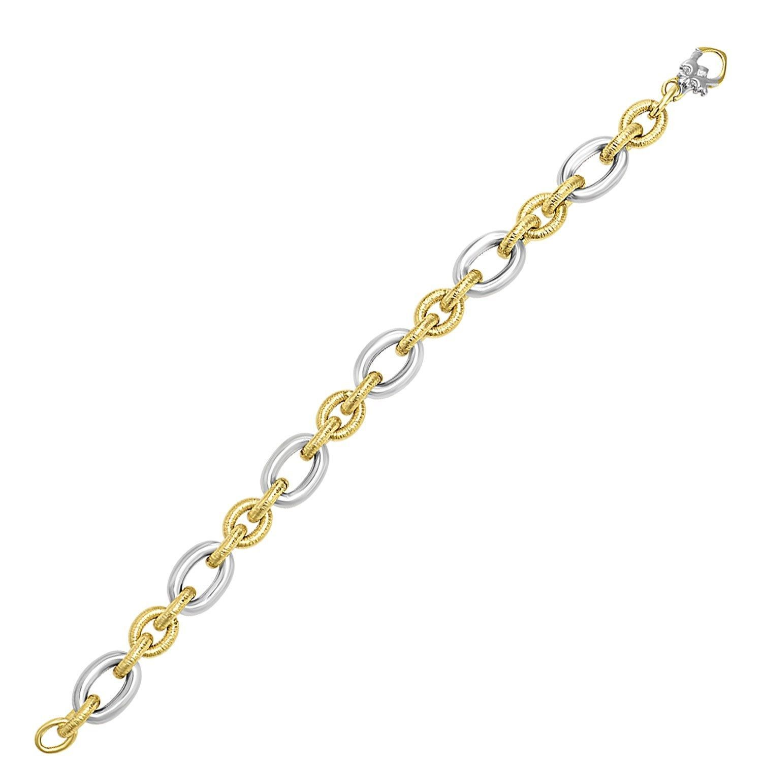 14k Two-Tone Gold Oval Link Bracelet with Textured and Smooth Links Cute Jewelry