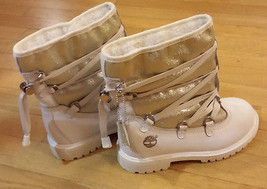 Girls White/ sprakly silver front  accent Timberland Mid Calf Boot Youth... - $59.40