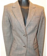 Michael Kors 4P Plaid Women's Blazer 2 Button Wool Italy Brown Plaid Lined - $46.39