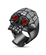 Round Cut Red Garnet & CZ Black GP 925 Silver Men's Cool Skull Head Ring... - $119.17