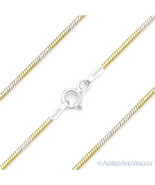 .925 Italy Sterling Silver 14k Yellow Gold 1mm 8-Sided Snake Link Chain ... - $21.37+