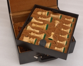 """ChessSet storage box coffer with double tray fixed slots for 3.75"""" - 4.0... - $223.99"""