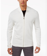$99 Alfani Men's Quilted-Front Zip Cardigan, Whashed White, Size S - $39.59