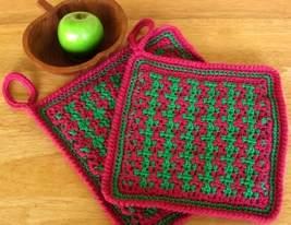 Burgundy Red & Green Potholders -  Handmade Hom... - $14.00