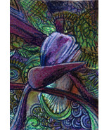 originial ACEO drawing bird of paradise flower floral zentangle design - $16.99