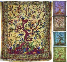 Wall Hanging Tree Of Life Pattern Tapestry Indian Throw Bedspread Decor ... - $28.99
