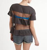 O'Neill Sexy Mesh Inset Stripe Boxy Tee-Charcoa... - $14.99