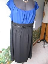 London Times Women Cap Sleeve Black Blue Cocktail Dress SZ 20W New - $49.49