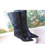 M.O.D  Pointy Toe Leather Fur Black Mid-Calf Boots Shoes 8 NEW - $79.19