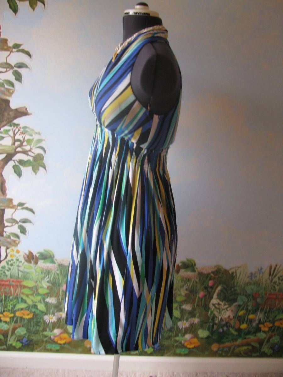 CALVIN KLEIN MUTI-COLOR STRIPED SLEEVELESS WOMEN  DRESS SZ 8 NWT