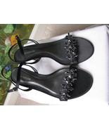 Ann Taylor Black Beaded Leather Sole Open Toe Sandal 6.5M New - $45.53